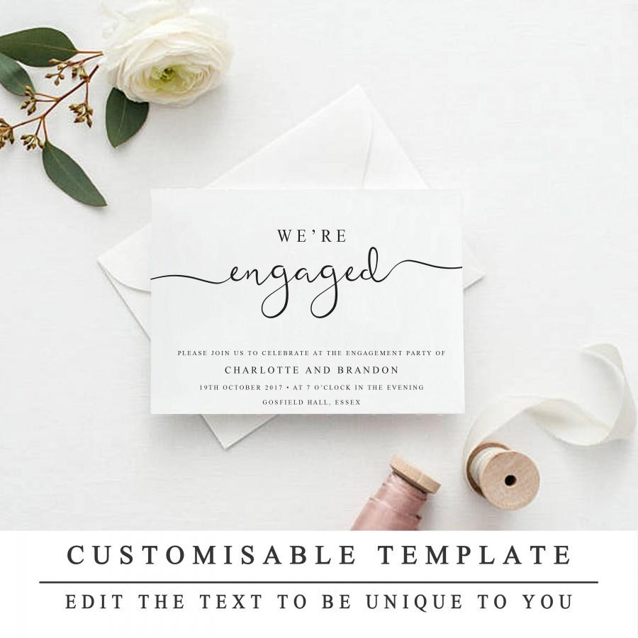 Print At Home Engagement Party Invitation Template Printable Were