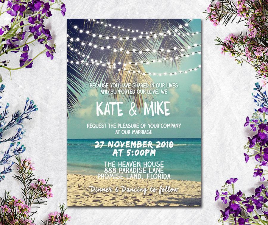 Wedding - Digital Printable Files - Beach and Sea Wedding Invitation RSVP Thank You Invitation Set Wedding Stationery - ID615