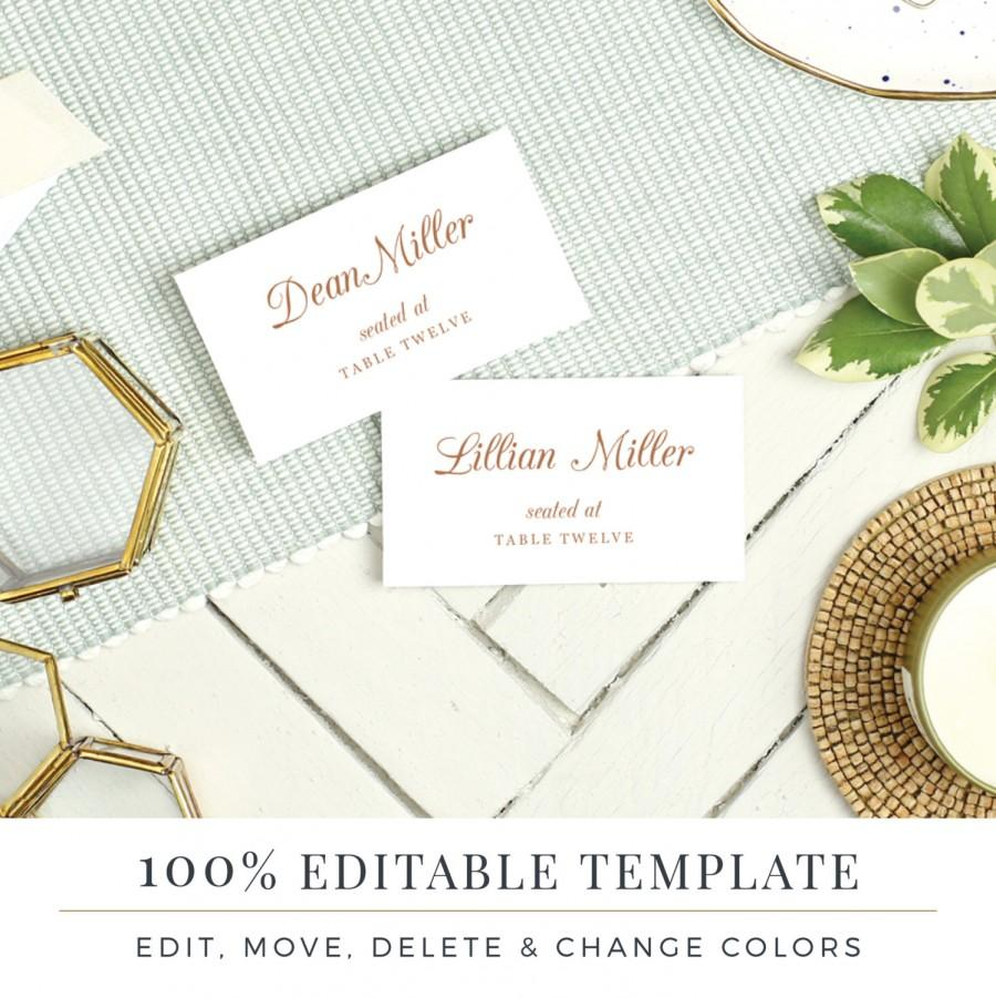 Wedding Place Card Template Printable Escort Cards Pretty Script - Escort card template