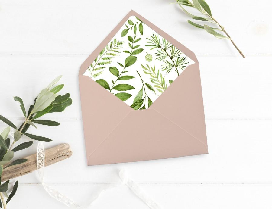 Boda - Printable Greenery Envelope Liner, Leaves Envelope Liner, Botanical Envelope Liner, Watercolor Foliage Liner, Download 105-A 126-W 035-W