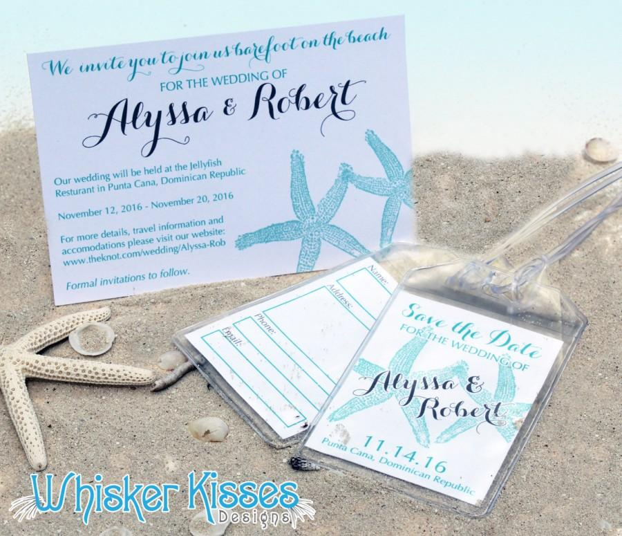 Wedding - Luggage Tag Save the date, Travel Wedding, Beach, Starfish, custom, personalized, usable wedding favor, SAMPLE LISTING