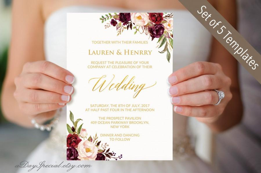 Wedding - Set of 5 Burgundy Floral Wedding Invitation Templates, Printable Gold Foil Wedding Invites Suit, Boho Invite Set DIY PDF Download #105