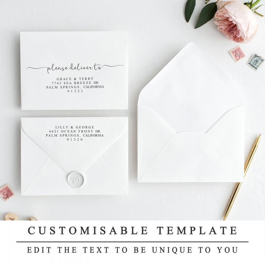 Print At Home Modern Calligraphy Envelope Template Elegant Editable