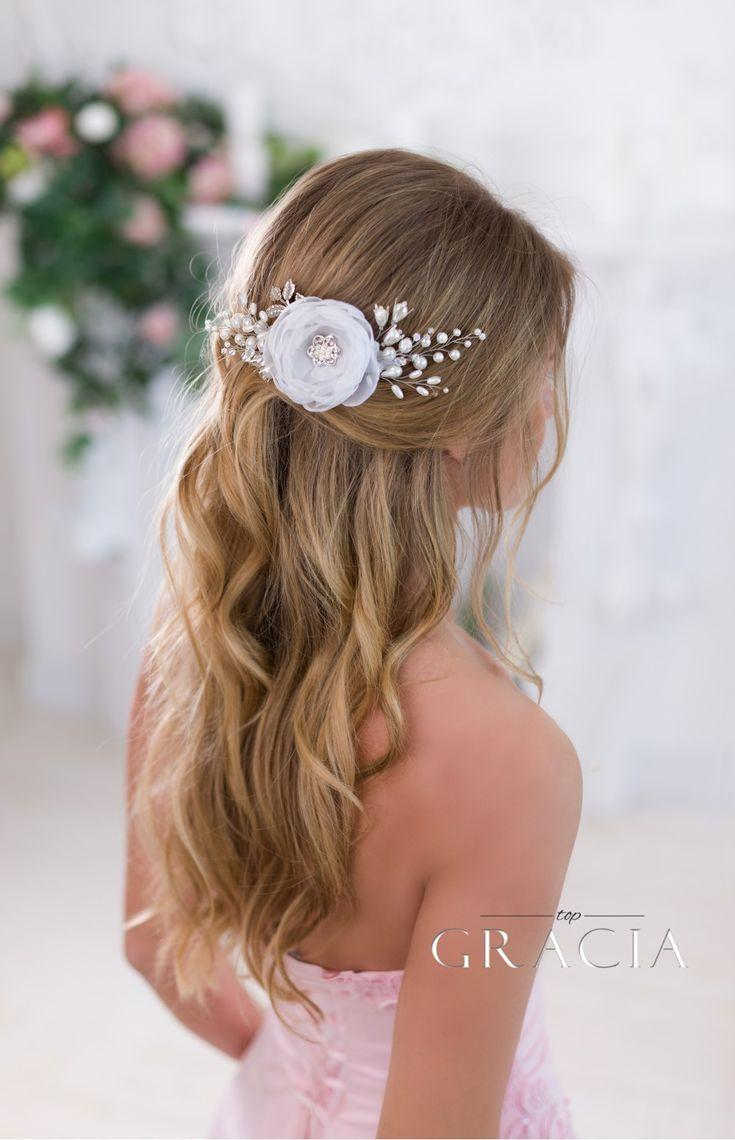 Свадьба - ELISAVET White Bridesmaid Bridal Hair Flower Wedding Hair Clip