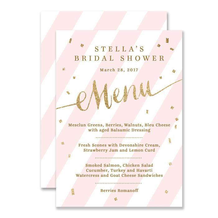 "Свадьба - ""Stella"" Blush Pink   Gold Glitter Bridal Shower Menu"