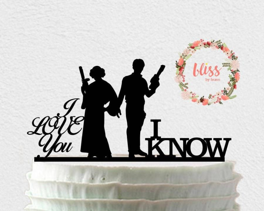 Mariage - Star Wars Cake Topper. Han and Leia Cake Topper. I Love You, I Know Cake Topper. Personalized Cake Topper. Custom Wedding Cake Topper.