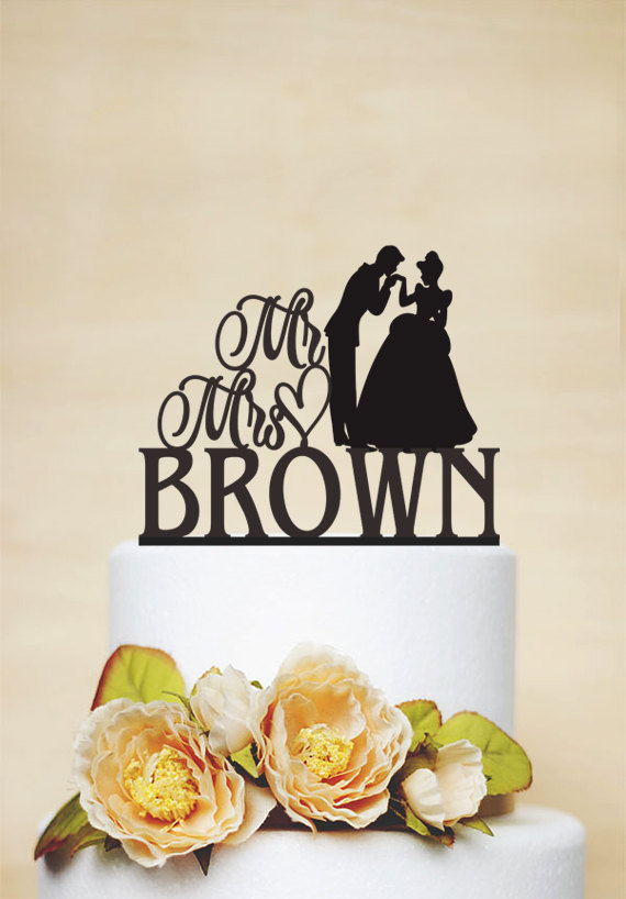 Wedding - Disney Wedding Cake Topper, Cinderella Cake Topper, Princess and Prince Cake Topper, Mr and Mrs Custom Cake Topper, Disney Wedding C062