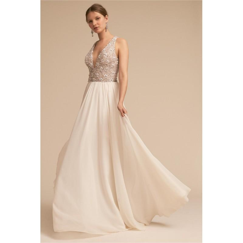 Mariage - BHLDN 2018 Roxbury Beading Sweet Ivory Zipper Up Sweep Train Chiffon Aline V-Neck Sleeveless Outdoor Wedding Gown - Charming Wedding Party Dresses