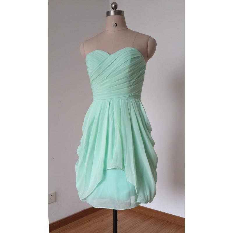 Wedding - 2015 Simple Sweetheart Mint Chiffon Short Bridesmaid Dress - Hand-made Beautiful Dresses