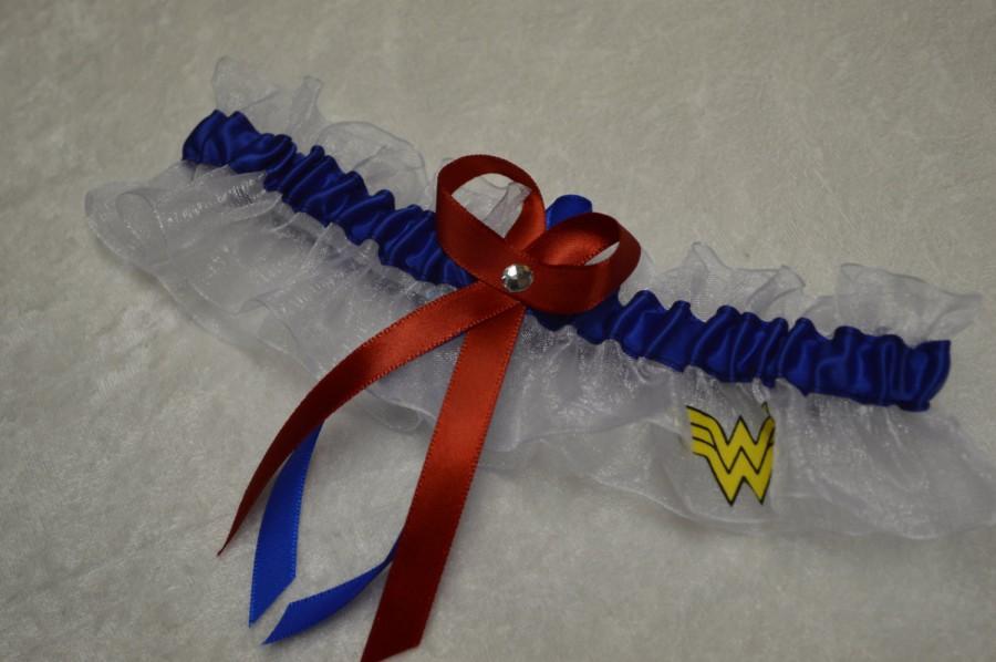 Свадьба - Handmade wedding garter keepsake  WONDER WOMAN Super Hero wedding garter