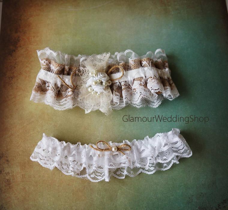 Свадьба - Sale - Wedding Garter Burlap Garter Bridal Garter White Lace Garter Lace Wedding Garter Rustic Wedding Garter