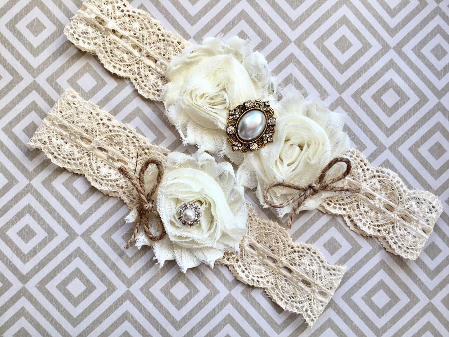 Свадьба - Rustic wedding garter, rustic garter set - wedding garter, bridal garter - burlap and lace, vintage rustic garter