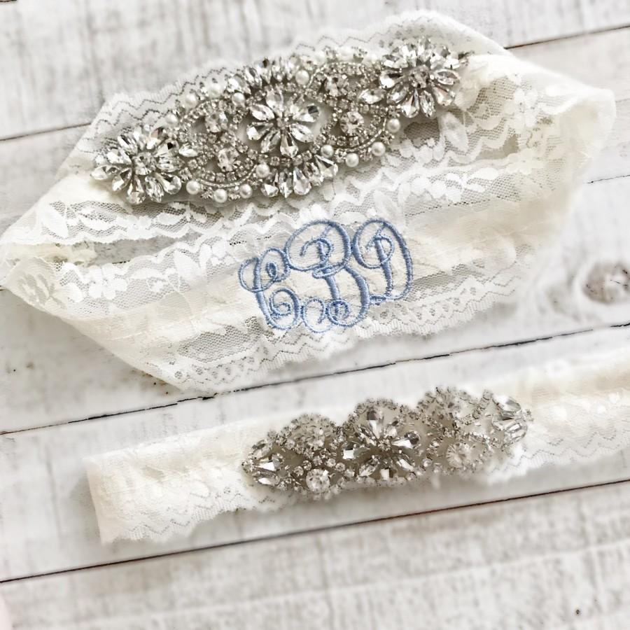 زفاف - Monogram Wedding garter, embroidered bridal garter, something blue, custom wedding garters AO1S-AO2S