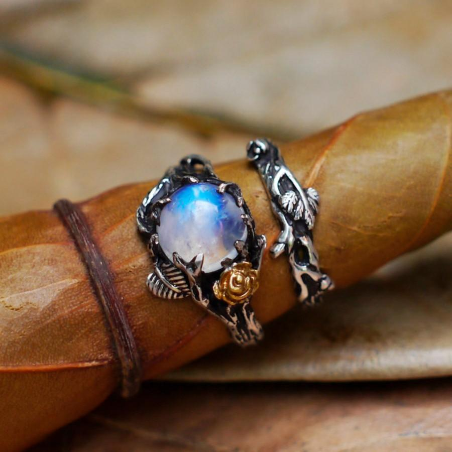 0269a8511c8f9c Set of 2 Cleo+Mio Moonstone Engagement Ring Set READY TO SHIP Moonstone ring,  Wedding Ring Set, Twig ring, Stacking Rings Set