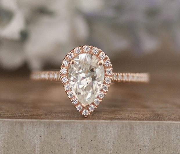 Mariage - Moissanite Engagement Ring, Pear 9x6mm Forever Classic Moissanite and Diamond Halo Rose Gold Ring, Promise Ring, Handmade Ring, Diamond Ring
