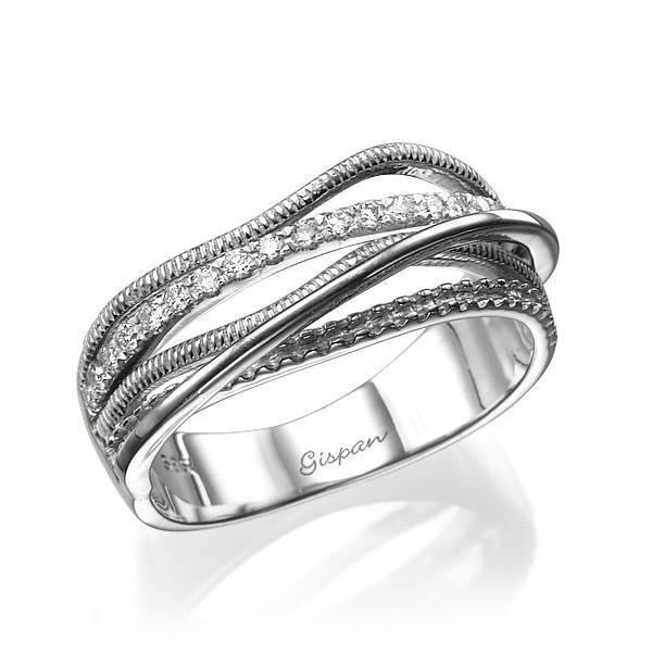 زفاف - Unique Engagement Ring, Diamond Ring, Wide Ring, Promise Ring, Wedding Bands Women, White Gold Ring, 3 bands Ring