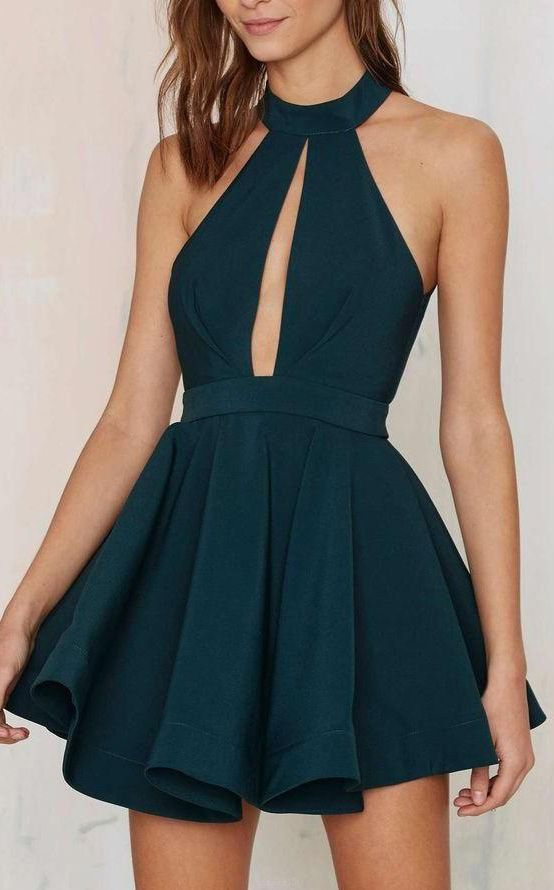 Wedding - Customized Mini Prom Homecoming Dress Short Dark Green Dresses With Backless Keyhole Halter Magnificent Homecoming Dresses WF02G54-988