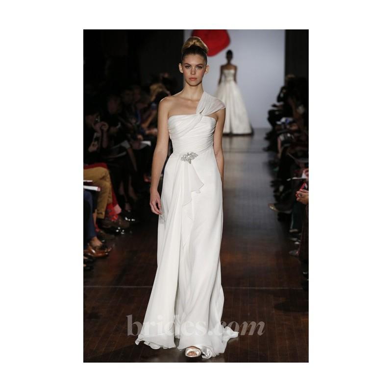 Hochzeit - Austin Scarlett - Fall 2013 - Ivy One-Shoulder Silk Chiffon Sheath Wedding Dress with a Draped Bodice - Stunning Cheap Wedding Dresses