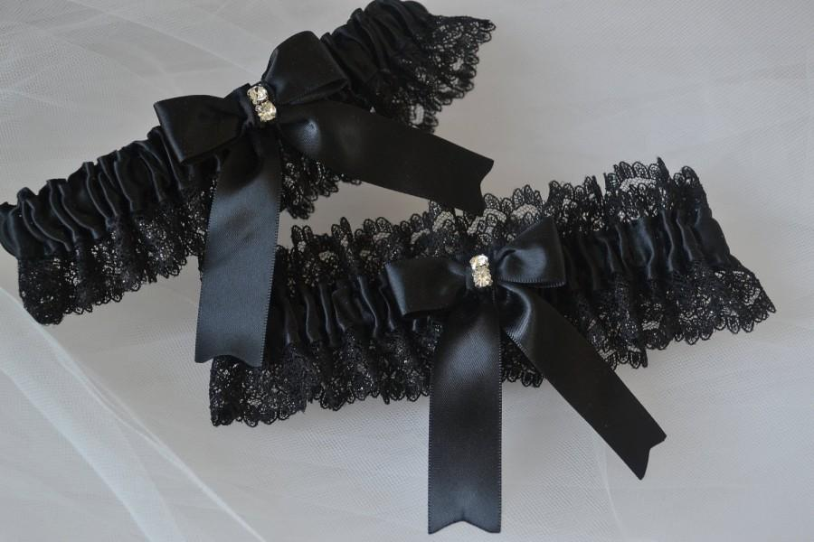 Wedding - Garter Set Wedding Garters Black Garters Lace Garters Bridal Garters