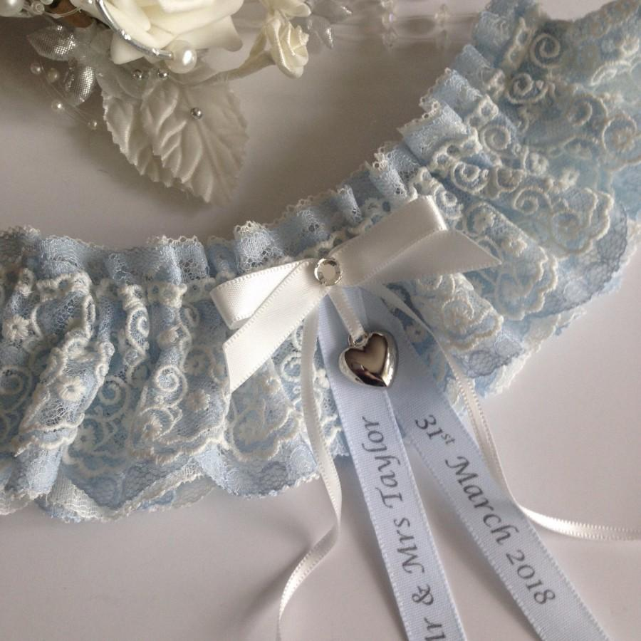 Hochzeit - Personalised wedding garter - Blue & ivory with a heart charm, available in S/M and plus/large sizes