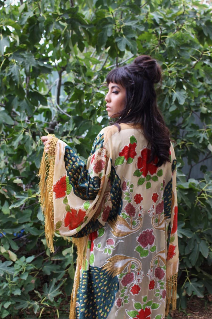 Mariage - Boho Bridal Velvet Robe - Fringed Bridal Robe - Silk Bridesmaid Kimono Robe - Fringe Boho Brides Robe - Velvet Kimono - Gypsy Bridal Kimono