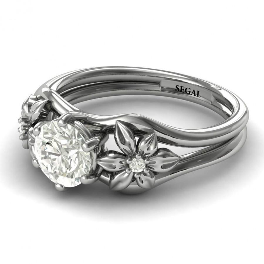 Wedding - Unique Engagement Ring White Gold Nature Inspired Ring Twig Engagement Ring Moissanite 1950s Ring Edwardian Engagement Ring - Bella