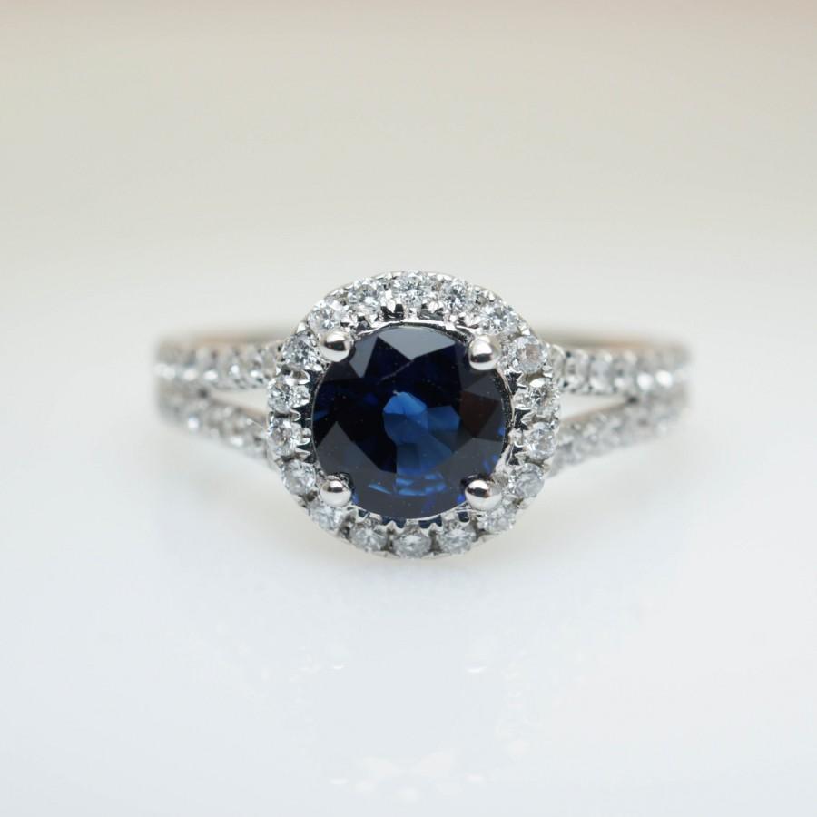 Свадьба - Natural Sapphire Split Shank Diamond Halo Engagement Ring Sapphire Ring Sapphire Engagement Elegant Ring