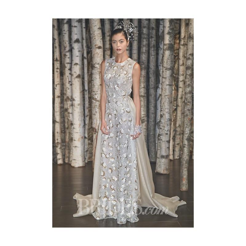 Свадьба - Naeem Khan - Spring 2015 - Malibu Sleeveless Embroidered Tulle A-Line Wedding Dress with a High Neckline - Stunning Cheap Wedding Dresses