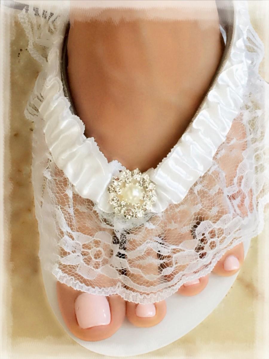 fe03f434d White Wedding Flip Flops Shoes Sandals.Bride Flip Flops.Bridesmaid  Shoes.Beach Wedding Shoes.Bride Gifts. LACE Wedding Shoes.Bride Shoes