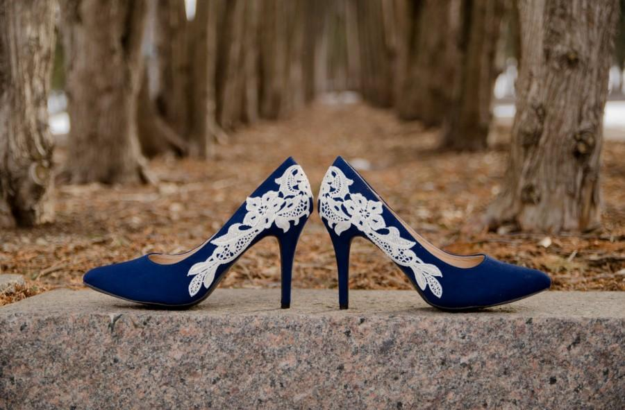 SALE.Navy Blue Wedding Shoes,Navy Heels,Blue Bridal Shoes,Wedding ...
