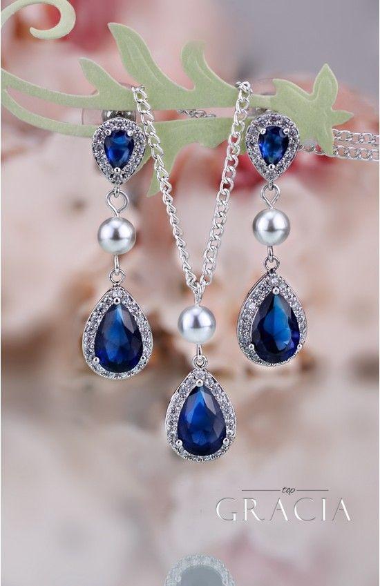 Свадьба - MARIAH Navy Sapphire Bridesmair Gift Blue Bridal Jewelry Set Teardrop Pearl Earrings Necklace