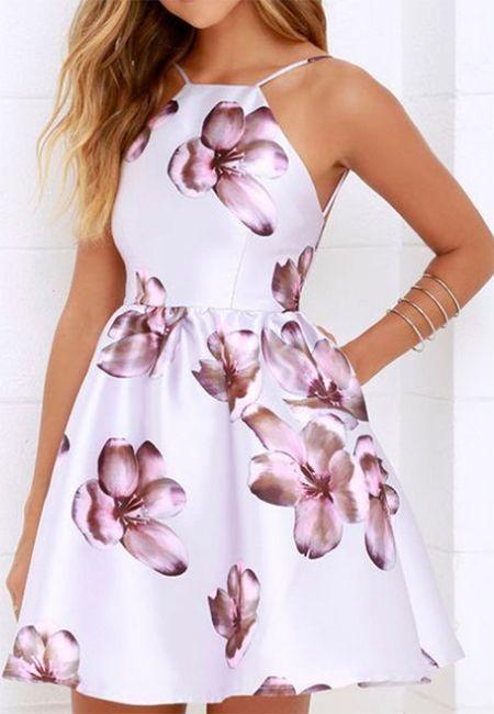 زفاف - White Spaghetti Strap Floral Backless Flared Party Skater Mini Dress