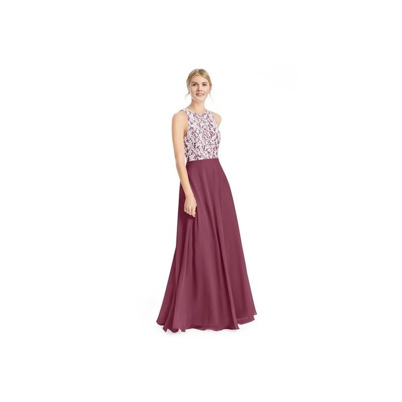 Wedding - Mulberry Azazie Kate - Scoop Chiffon And Lace Floor Length Back Zip Dress - Charming Bridesmaids Store