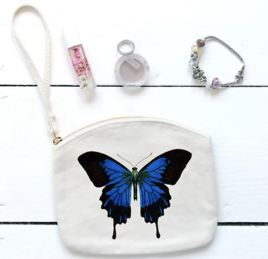 Свадьба - Butterfly Purse with Wrist Strap,Bag for Bridesmaid,Bridesmaid Cosmetic Pouch,Wristlet, Vintage Butterfly,Wedding Accessory,Make Up Bag