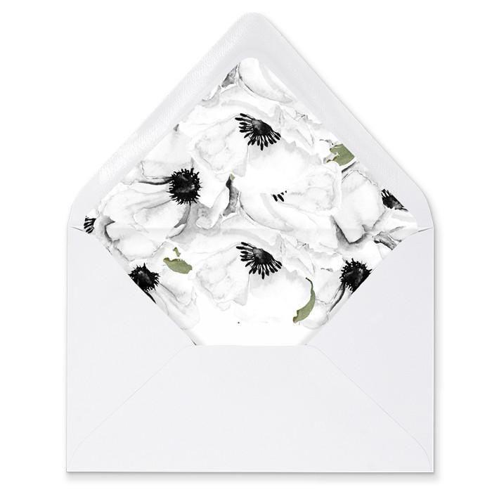 "Mariage - ""Leona"" Chalkboard   White Anemone Envelope Liners"