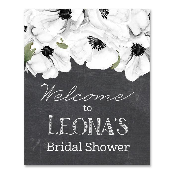 "Mariage - ""Leona"" Chalkboard White Anemone Bridal Shower Welcome Sign"