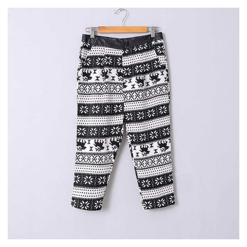 Свадьба - Casual High Waisted Pocket Zipper Up Snow Flower Deer Summer Comfortable Harem Pant - Discount Fashion in beenono
