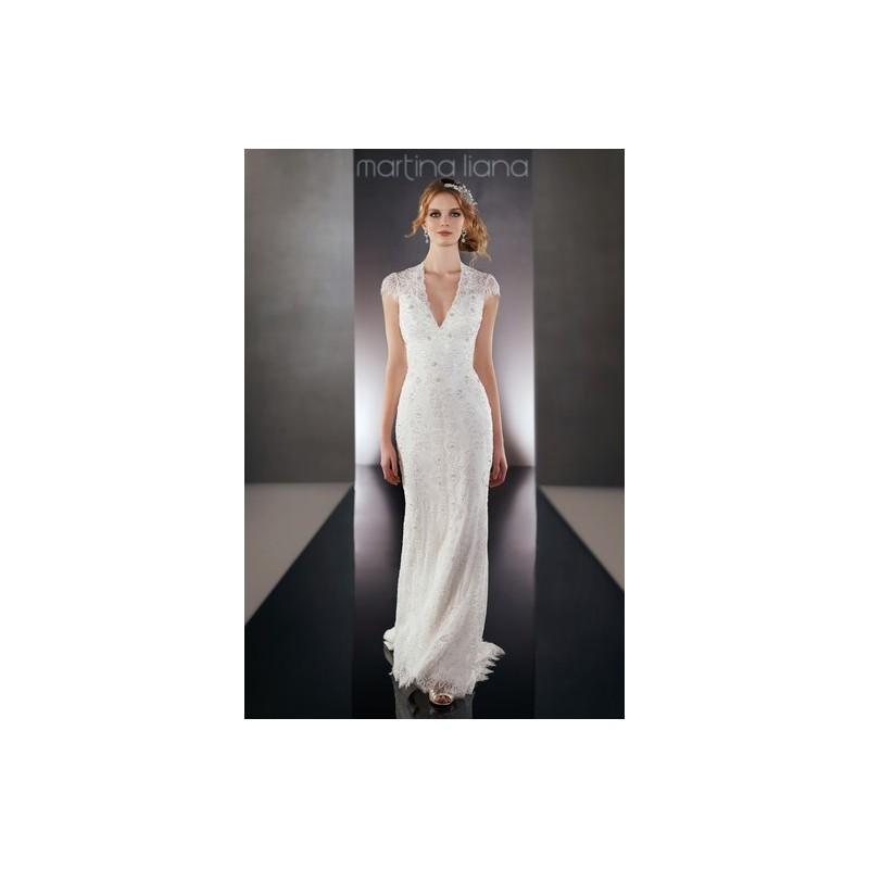Свадьба - Martina Liana Fall 2015 Dress 9 - Martina Liana Fit and Flare Fall 2015 Full Length V-Neck White - Rolierosie One Wedding Store