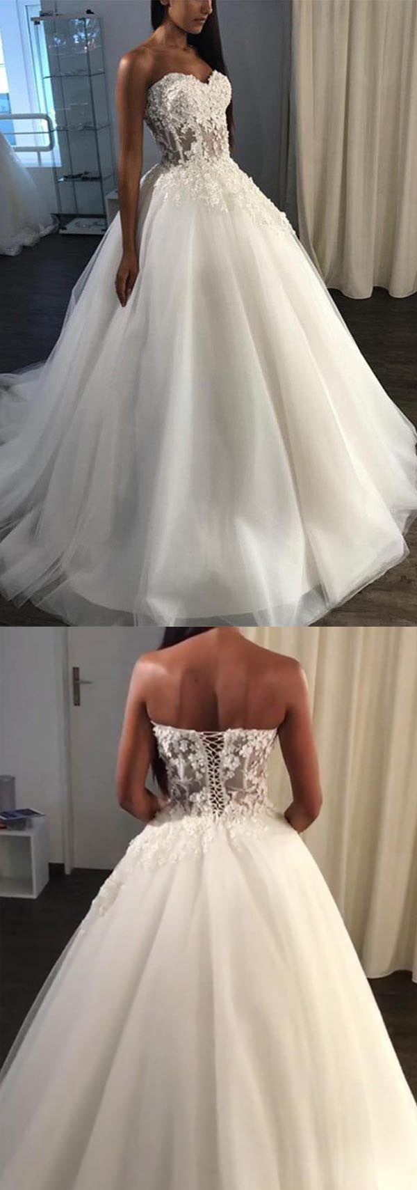 Hochzeit - A-Line Sweetheart Sweep Train Tulle Appliques Wedding Dress WD227