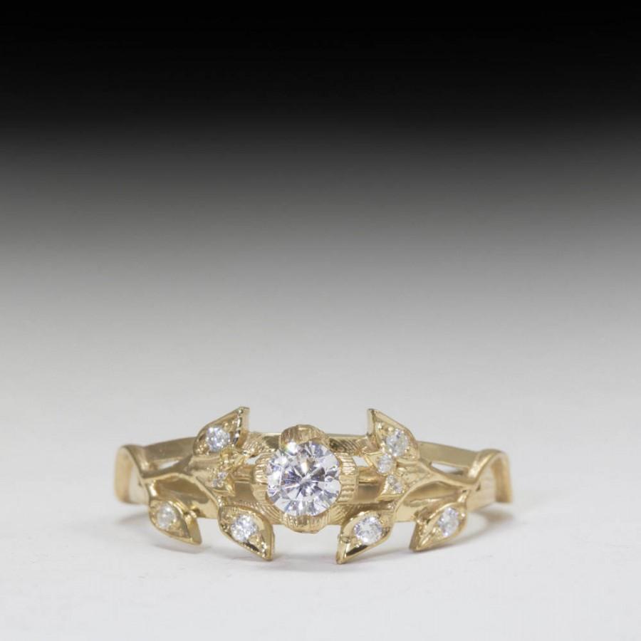Свадьба - Gold Leaves engagement ring - diamond engagement ring - unique engagement ring - - flower engagement ring - Gold ring