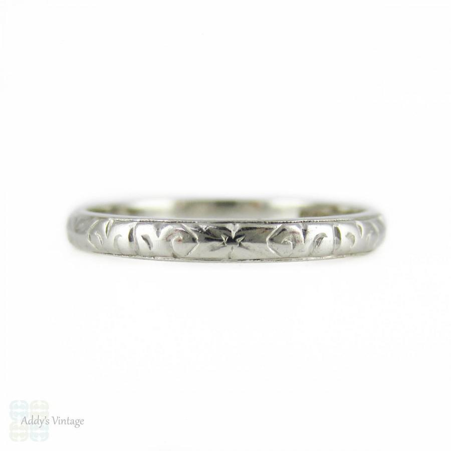 with band wedding deep set engraving engagement and platinum rings hand engraved scroll bands