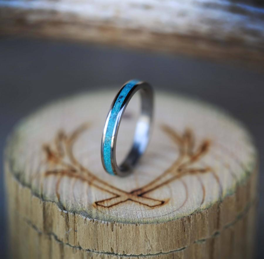 Women S Titanium Wedding Band Turquoise Stacking Ring Staghead