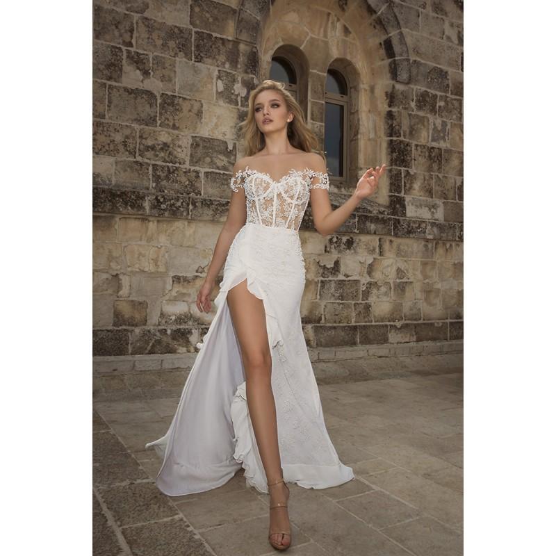 Свадьба - Dany Mizrachi Spring/Summer 2018 DM02/18 S/S Lace Appliques Asymmetrical Open Back Sheath Short Sleeves Illusion Bridal Dress - Rolierosie One Wedding Store
