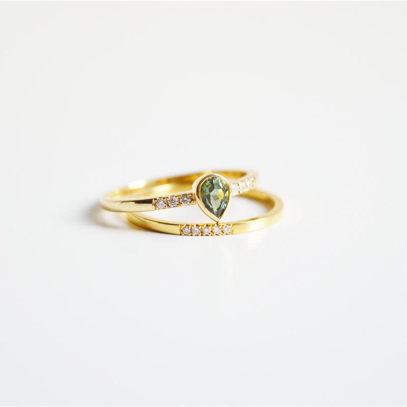 Mariage - Green Tourmaline Ring 18K Gold Wedding Diamond Ring Engagement Gemstone Ring Green Tourmaline Engagement Ring 14K Tourmaline Ring