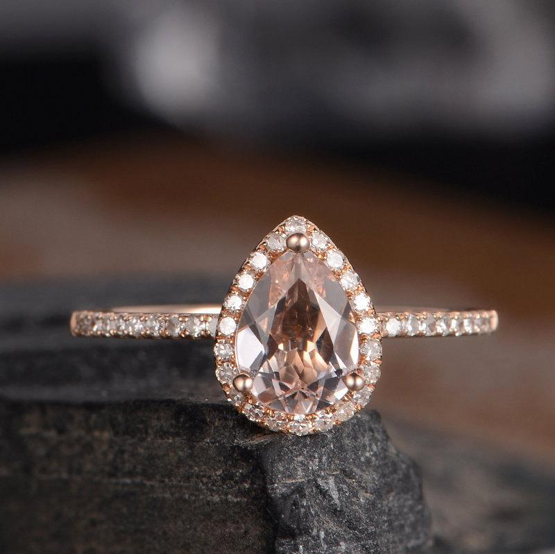 Wedding - Pear Shaped Engagement Ring Morganite Rose Gold Ring Bridal Diamond Halo Women Antique Ring Anniversary Gift Half Eternity Band Drop Tear