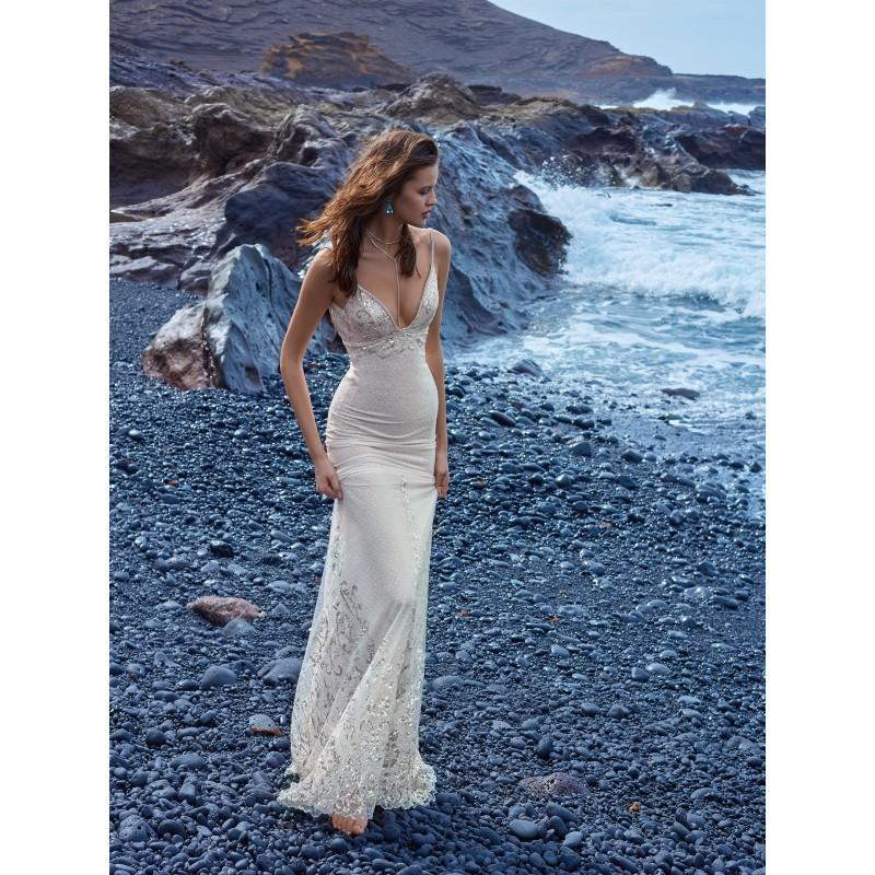 Свадьба - Galia Lahav 1007 Lace Sweep Train Nude Open Back Vogue Spaghetti Straps Fit & Flare Rhinestone Beach Wedding Dress without Coat - Bridesmaid Dress Online Shop