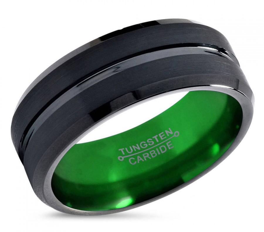 Hochzeit - Mens Wedding Band Black, Green Wedding Ring, Tungsten Ring, Personalized Ring, Engagement Ring, Promise Ring, Mens Ring, Gifts for Him