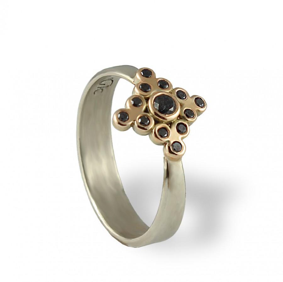 Hochzeit - Black Diamonds Engagement Ring , Rose Gold and White 14K Gold Engagement Ring , Statement Diamonds Ring For Women , Black Diamonds Ring ,