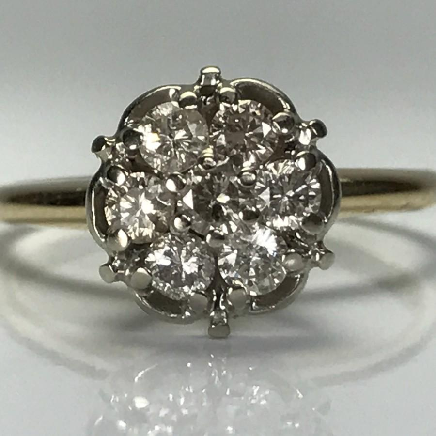Hochzeit - Vintage Diamond Cluster Ring. 14K Gold. Floral Design Setting. Unique Engagement Ring. April Birthstone. 10 Year Anniversary. Estate Jewelry