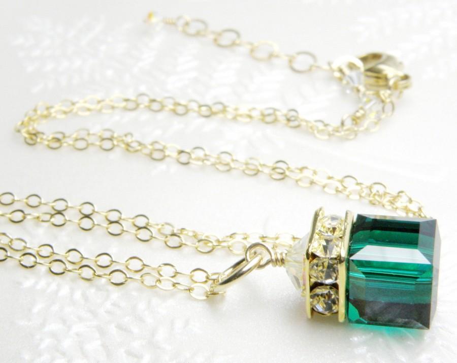 Hochzeit - Emerald Green Swarovski Crystal Necklace, Gold Filled, Bridesmaid Cube Pendant, Wedding Jewelry, May Birthday Gift, Birthstone, Handmade